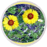 A Pair Of Wild Susans Round Beach Towel