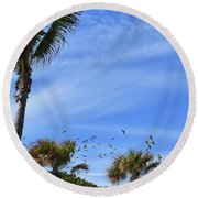 A Pandemonium Of Parrots 2 Round Beach Towel