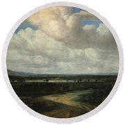 A Panoramic Landscape With A Country Estate Round Beach Towel