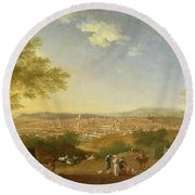 A Panoramic View Of Florence From Bellosguardo Round Beach Towel