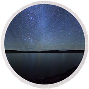A Panoramic View Of The Milky Way Round Beach Towel
