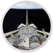 A Partial View Of Space Shuttle Round Beach Towel by Stocktrek Images