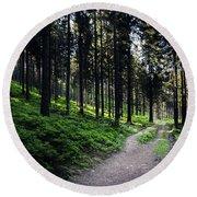 A Path Through A Dense Forest Round Beach Towel