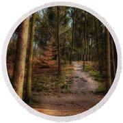 A Path Through The Woods Round Beach Towel