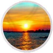 A Path To The Sun Round Beach Towel