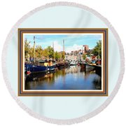 A Peaceful Canal Scene - The Netherlands L A S With Decorative Ornate Printed Frame. Round Beach Towel