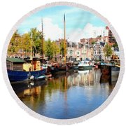 A Peaceful Canal Scene - The Netherlands L B Round Beach Towel