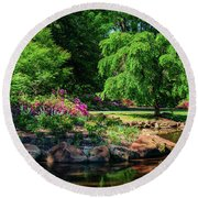 A Peaceful Feeling At The Azalea Pond Round Beach Towel