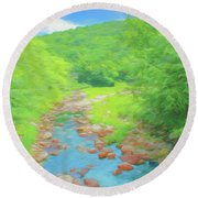 A Peaceful Summer Day In Southern Vermont. Round Beach Towel