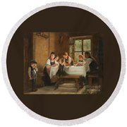A Peasant Family At Their Meal With A Crying Boy Round Beach Towel