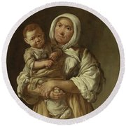 A Peasant Mother With Her Child In Her Arms Round Beach Towel
