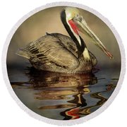 A Pelican And His Reflection Round Beach Towel
