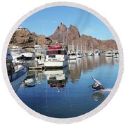A Pelican Lands In The Old San Carlos Marina, Guaymas, Sonora, M Round Beach Towel