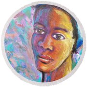 A Pensive Moment Round Beach Towel