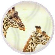 A Perfect Pair- Masai Giraffe Round Beach Towel