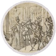 A Performance By The Commedia Dell'arte Round Beach Towel