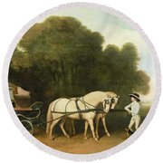 A Phaeton With A Pair Of Cream Ponies In The Charge Of A Stable-lad Round Beach Towel
