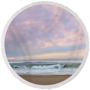 Panoramic Photograph Of A Peaceful Sunrise At Lake St Lucia In South Africa Round Beach Towel