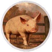 A Pig In Autumn Round Beach Towel