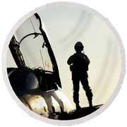 A Pilot Prepares To Enter His F-14b Round Beach Towel