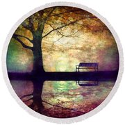 A Place To Rest In The Dark Round Beach Towel
