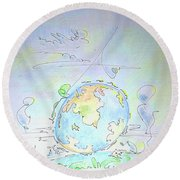 A Planet Remembered Round Beach Towel