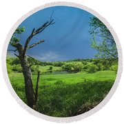 A Pond Just Outside Of Imre... Round Beach Towel