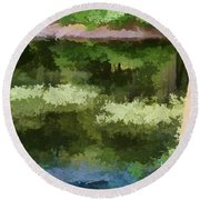 A Pond Reflection Round Beach Towel
