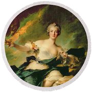 A Portrait Of Anne Josephe Bonnnier De La Mossau  Round Beach Towel