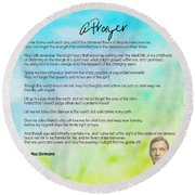 A Prayer By Max Ehrmann V1 Round Beach Towel by Adam Asar
