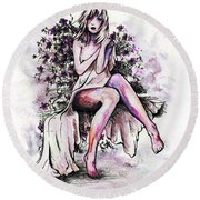 A Pretty Flower Round Beach Towel