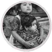 A Proud Sister Bw Round Beach Towel