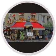 A Quaint Restaurant In Paris, France Round Beach Towel