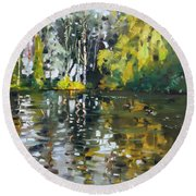 A Quiet Afternoon Reflection Round Beach Towel