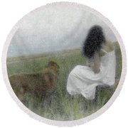 A Quiet Moment On The Vineyard Round Beach Towel by Wayne King