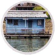 A Raft House Moored To The Shoreline Of Ada Ciganlija Islet Round Beach Towel