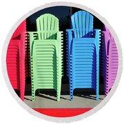 A Rainbow Of Chairs Round Beach Towel
