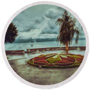 A Rainy Day  Round Beach Towel