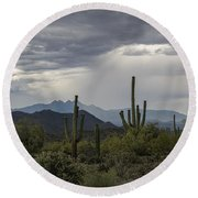 A Rainy Desert Afternoon  Round Beach Towel