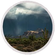 A Rainy Evening In The Superstitions  Round Beach Towel