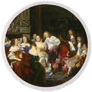 A Reading By Madame De Sevigne Round Beach Towel
