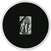 A Red Indian Girl Round Beach Towel