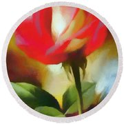 A Red Rose For Amelia Round Beach Towel