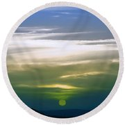 A Red Sunset In Infra Red Round Beach Towel by Adam Asar
