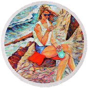 A Relaxing Moment Round Beach Towel