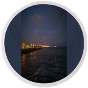 A Relaxing Night Begins Round Beach Towel