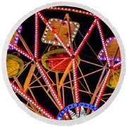 A Ride In The Carousel Round Beach Towel