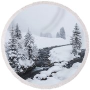 A River And Winter Landscape In Austria Round Beach Towel