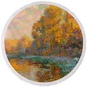 A River In Autumn Round Beach Towel