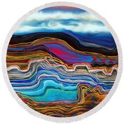 A River Runs Through It Round Beach Towel